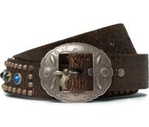 4cm Brown Stampede Embellished Leather Belt