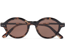 Round-frame Leather-trimmed Tortoiseshell Acetate Sunglasses