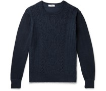 Cable-Knit Linen and Cotton-Blend Sweater