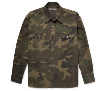 Camouflage-print Washed Cotton-ripstop Overshirt