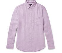 Slim-fit Button-down Collar Slub Linen Shirt