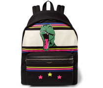 City Leather-trimmed Dinosaur-patterned Canvas Backpack