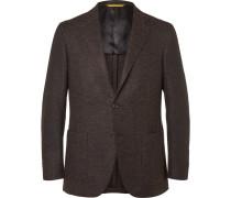 Brown Kei Slim-fit Wool-blend Tweed Blazer
