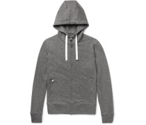 Leather-trimmed Mélange Cashmere And Cotton-blend Zip-up Hoodie