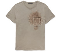 Slim-fit Sequinned Cotton-jersey T-shirt