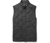 Quilted Mélange Wool-twill Gilet