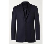 Black Unstructured Worsted Wool Blazer