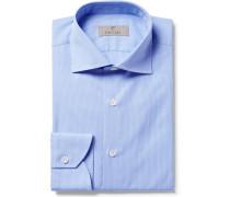 Blue Slim-fit Cutaway-collar Checked Cotton-poplin Shirt