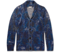 Shawl-collar Printed Cotton And Linen-blend Cardigan