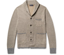 Contrast-trimmed Shawl-collar Loopback Cotton Cardigan