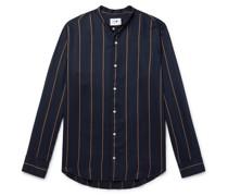 Justin Grandad-Collar Striped Tencel Shirt