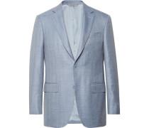 Slim-fit Light-blue Wool, Silk And Linen-blend Blazer - Blue
