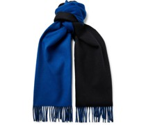Reversible Fringed Checked and Striped Cashmere Scarf