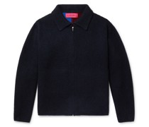 Intarsia Cashmere Zip-Up Cardigan