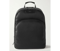City Leather-Trimmed Stepan Coated-Canvas Backpack