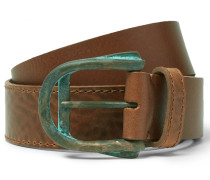 4cm Brown Layered Grained-leather Belt