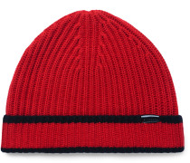 Contrast-tipped Ribbed Cashmere Beanie