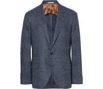 Blue Slim-fit Prince Of Wales Checked Wool-blend Blazer