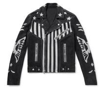Embellished Nubuck Biker Jacket