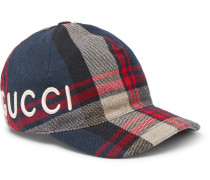 Embroidered Checked Wool-twill Baseball Cap