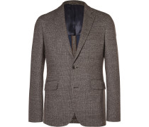 Brown London Slim-fit Checked Knitted Blazer