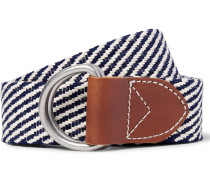 3.5cm Leather-trimmed Woven Cotton Belt