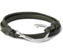 Grained-leather And Silver-plated Hook Wrap Bracelet