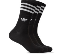 Three-Pack Striped Logo-Intarsia Stretch Cotton-Blend Socks