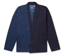 Two-tone Indigo-dyed Denim Cardigan