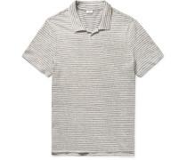 Shaun Slim-fit Striped Slub Linen And Cotton-blend Polo Shirt