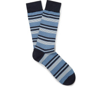 Striped Sea Island Cotton-blend Socks