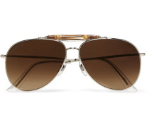 Aviator-style Bamboo-trimmed Silver-tone Polarised Sunglasses