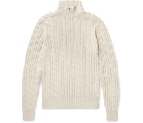 Suede-trimmed Cable-knit Baby Cashmere Half-zip Sweater