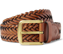 4cm Brown Woven Leather Belt