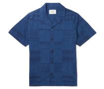 Camp-Collar Frayed Patchwork Cotton Shirt