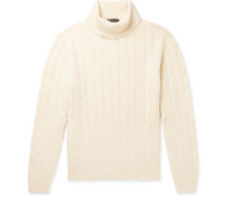 Slim-Fit Cable-Knit Cashmere Rollneck Sweater