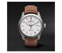 SOLO White Automatic 43mm Steel and Leather Watch, Ref. SOLO43-WS-R-S