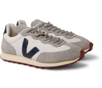 Rio Branco Leather and Rubber-Trimmed Hexamesh and Suede Sneakers