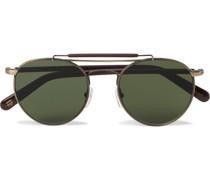 Lazer Sun Aviator-Style Gold-Tone and Acetate Sunglasses