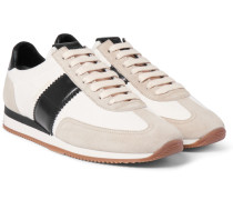 Leather And Suede-panelled Canvas Sneakers