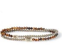 14-Karat Gold, Tiger's Eye and Enamel Wrap Bracelet