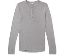 Karl Heinz Slim-Fit Mélange Cotton-Jersey Henley Pyjama T-Shirt