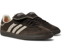 + Wales Bonner Samba Crochet- and Leather-Trimmed Suede Sneakers