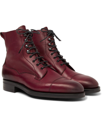 Galway Cap-toe Textured-leather Boots - Burgundy
