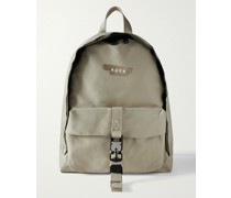 BP02 Distressed Logo-Print Cotton-Twill Backpack