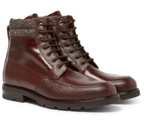 Kloten Polished And Pebble-grain Leather Boots
