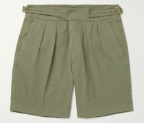 Manny Pleated Virgin Wool and Linen-Blend Twill Shorts