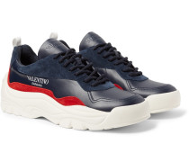 Valentino Garavani Bansi Leather And Suede Sneakers - Navy