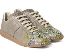 Replica Paint-splattered Leather Sneakers