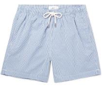Striped Cotton-Blend Seersucker Swim Shorts